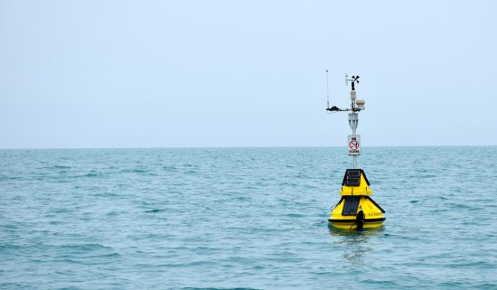 Michigan City buoy floating on Lake Michigan