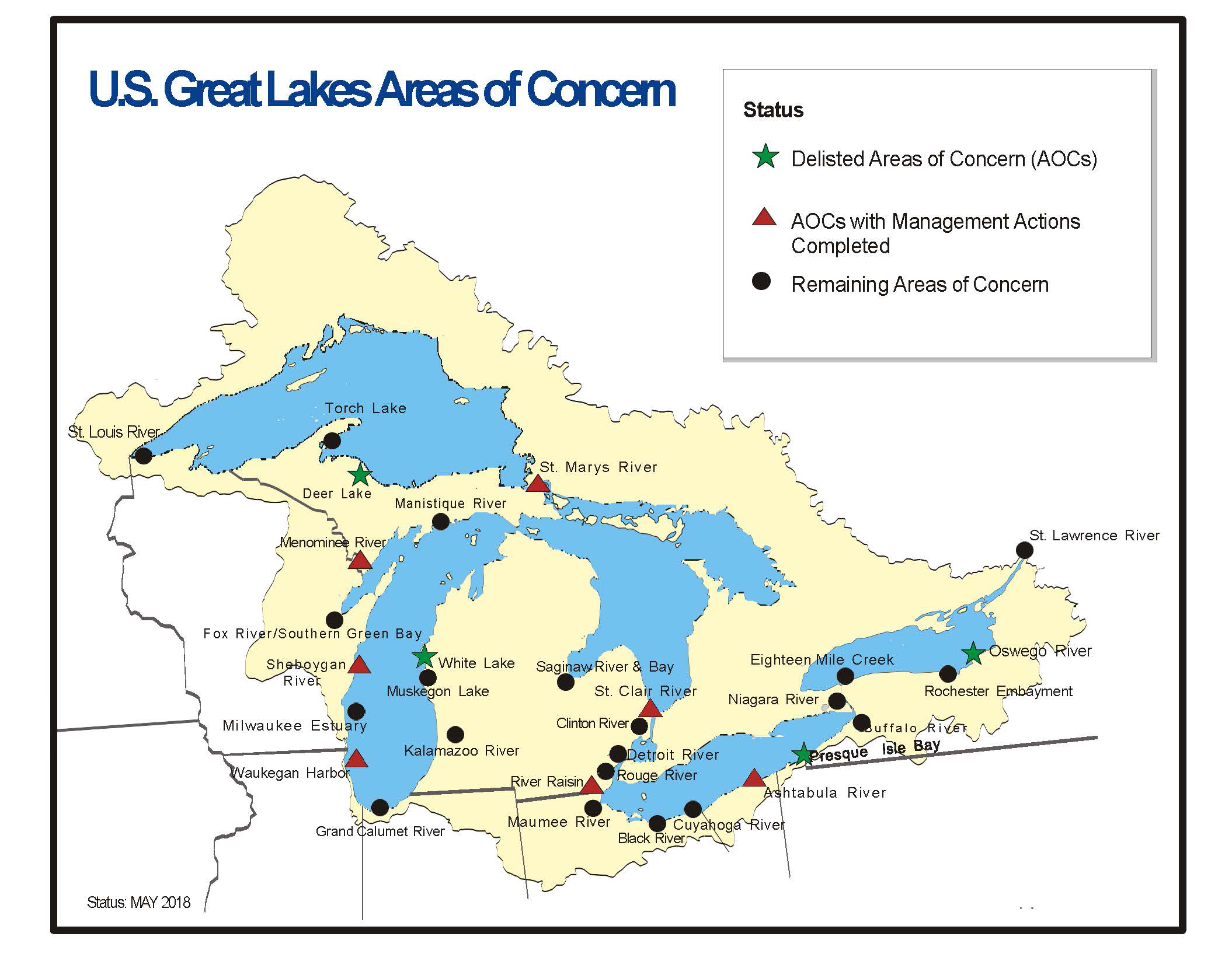 U.S. Great Lakes Area of Concern Map (May 2018)
