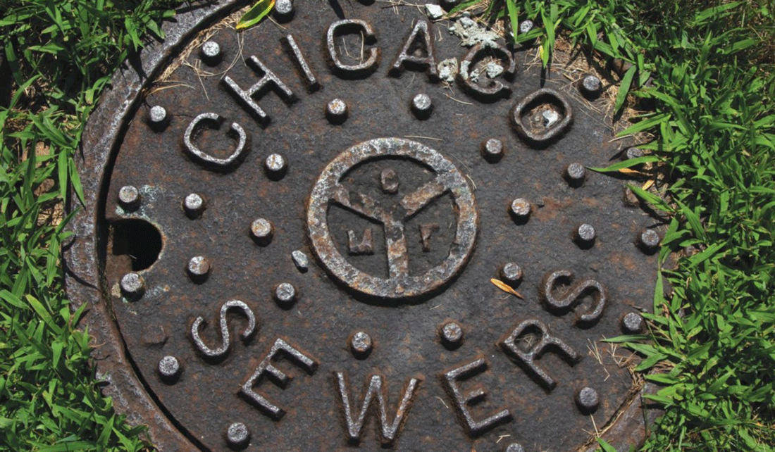 "Manhole cover labeled ""Chicago Sewers"""