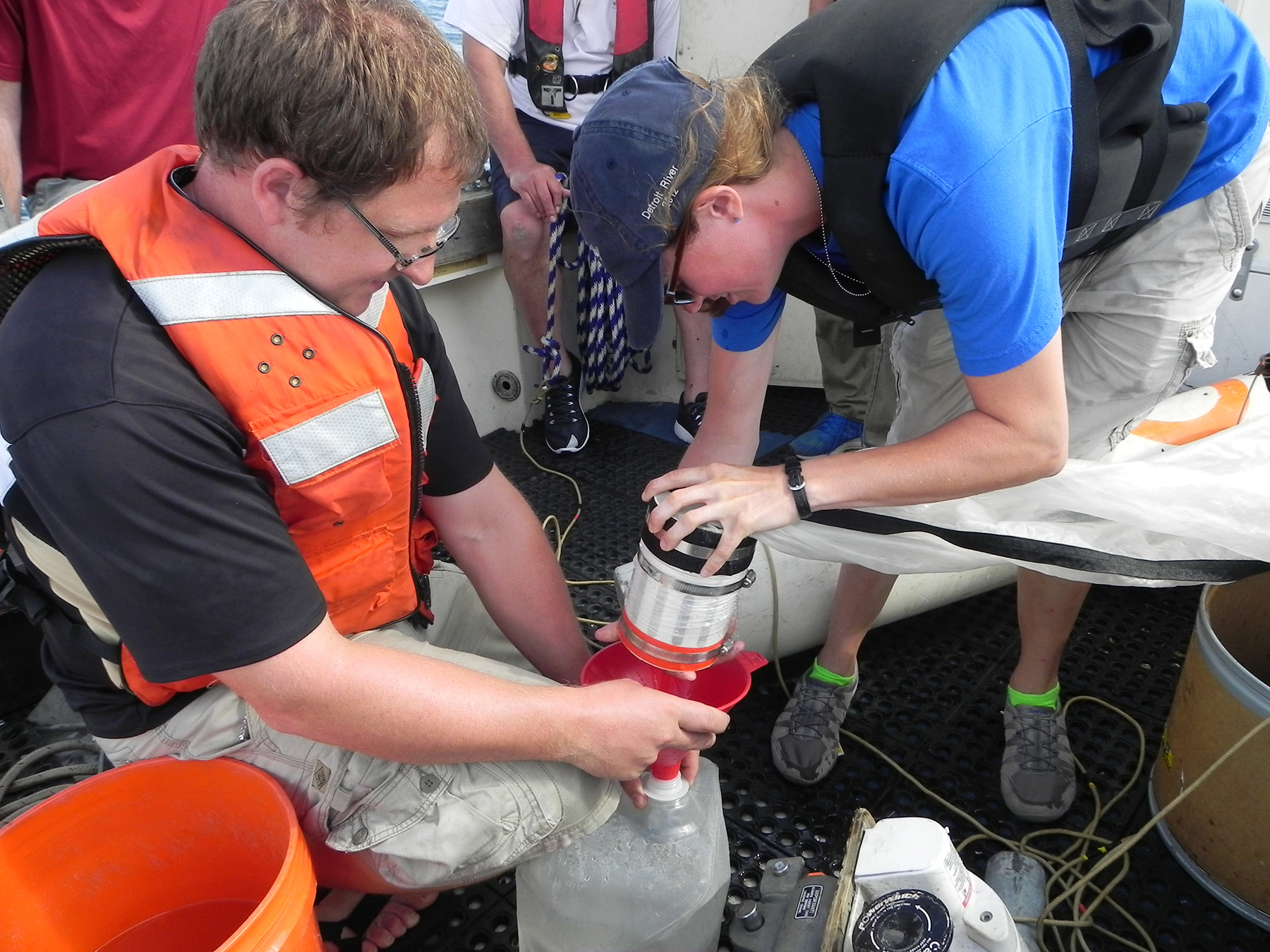Researchers take water samples on Lake Michigan