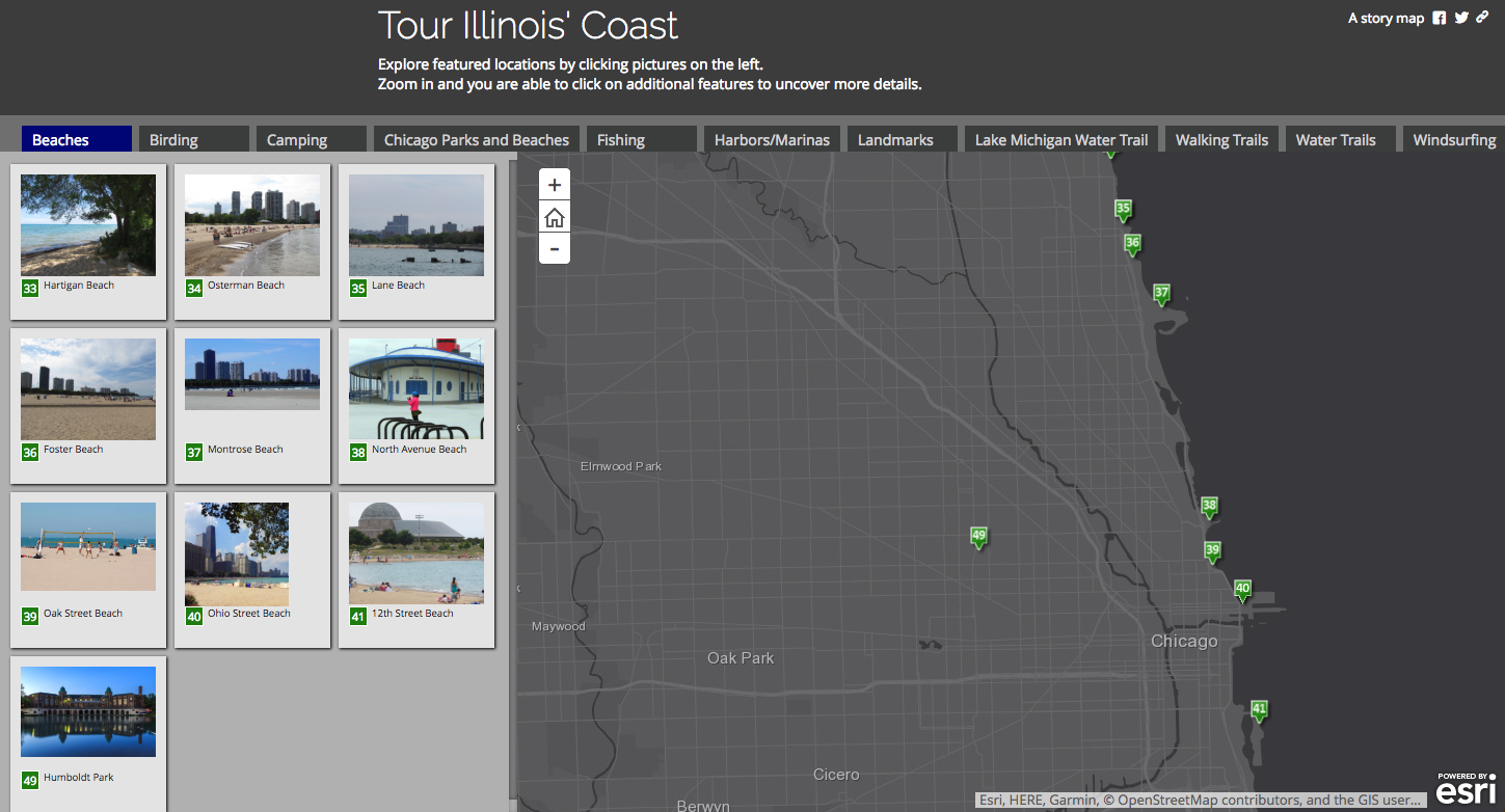 screenshot of Southern Lake Michigan Outdoors interactive map