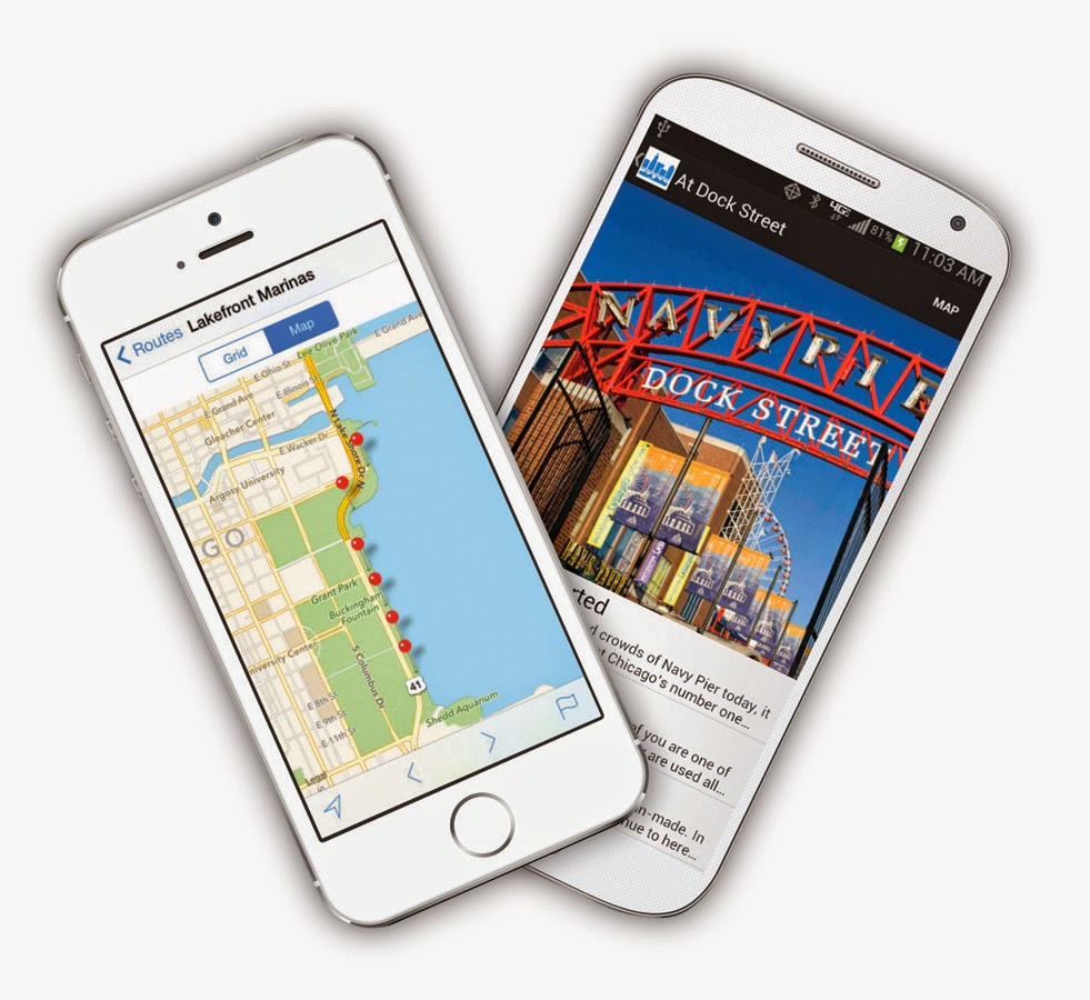 Chicago Water Walk app on phones