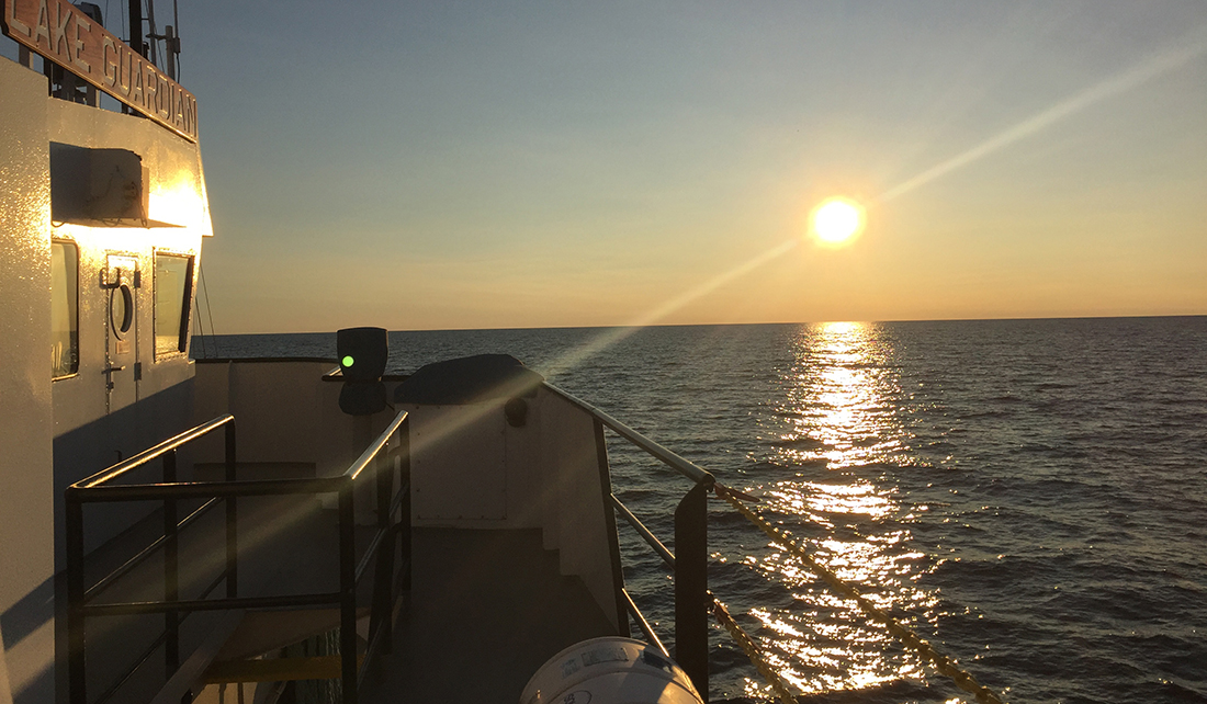 Sunset on Lake Michigan from the R/V Lake Guardian