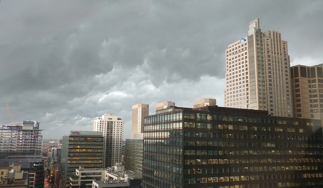 Storm clouds form over the Chicago skyline