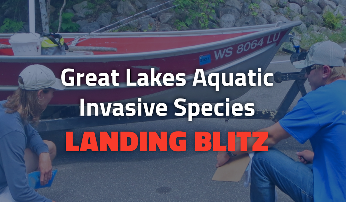 people inspecting boat - Great Lakes Aquatic Invasive Species Landing Blitz