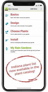 screenshot of homepage of Rain Garden app