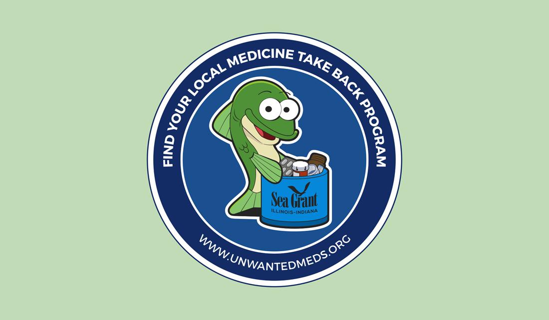 "fish mascot holds a medicine take-back bucket labeled ""Illinois-Indiana Sea Grant"""
