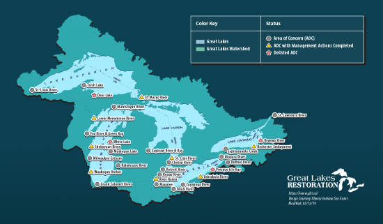 A map of Great Lakes Areas of Concern in the United States