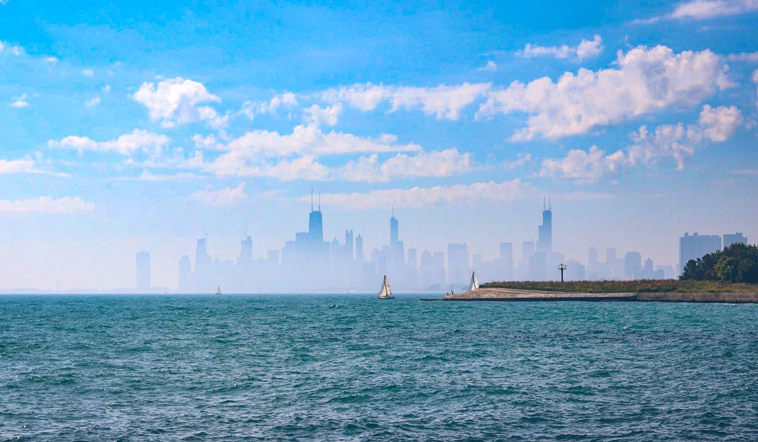 View of Lake Michigan and Chicago skyline from Oak Street Beach