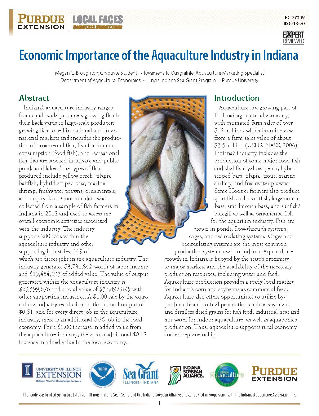 Economic Importance of the Aquaculture Industry in Indiana Thumbnail