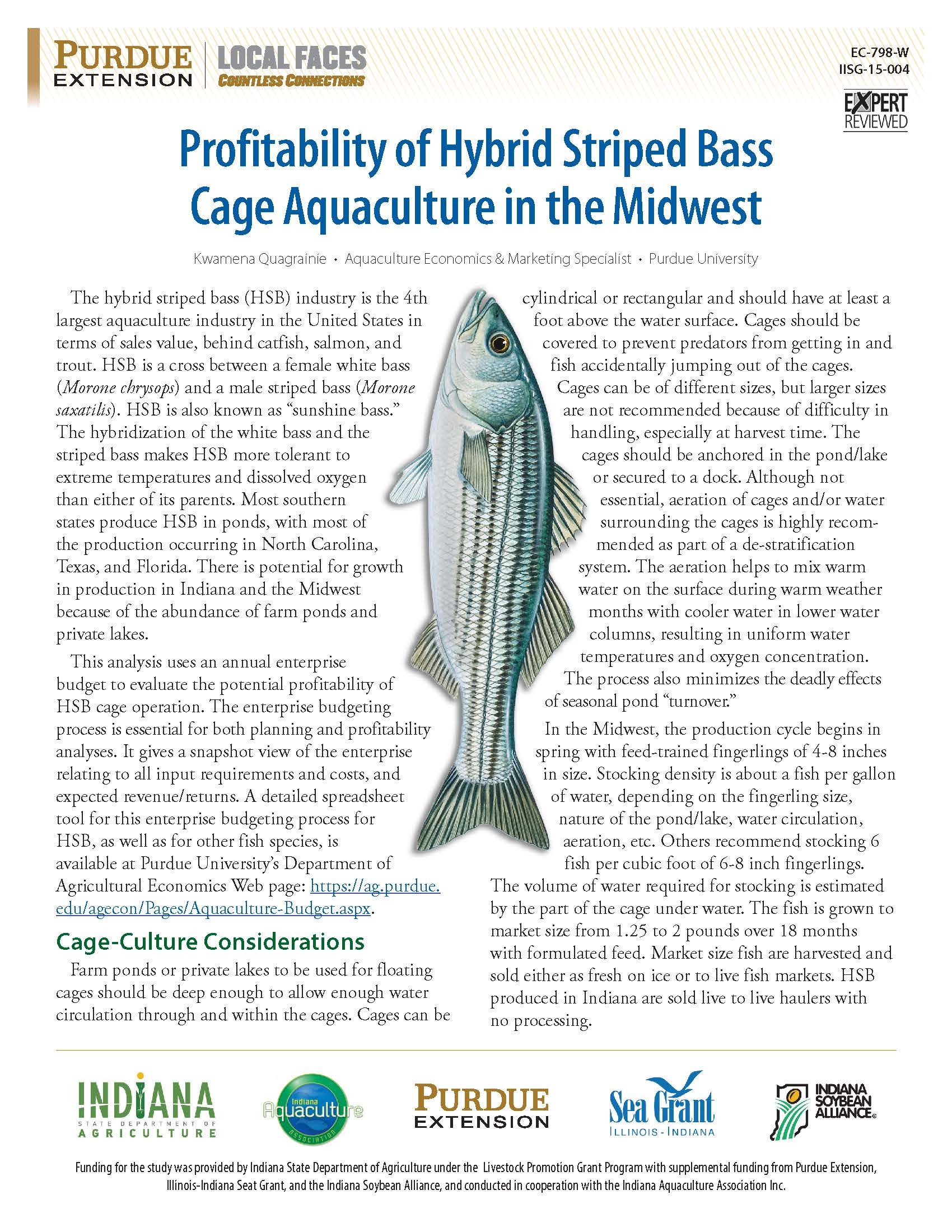 Profitability of Hybrid Striped Bass Cage Aquaculture in the Midwest Thumbnail
