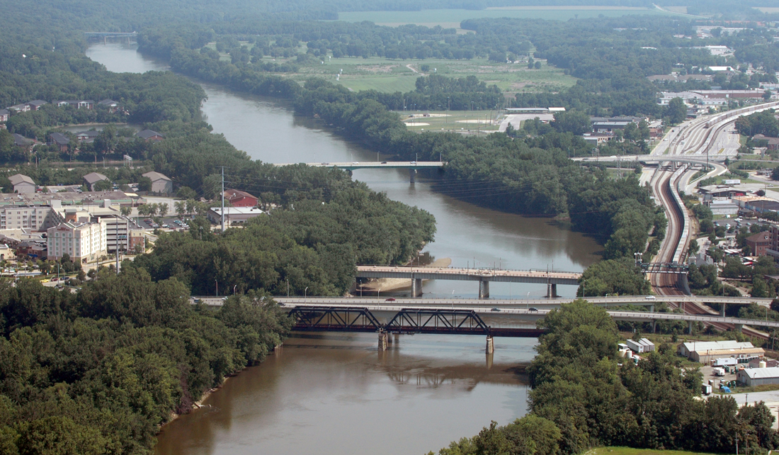 aerial view of the Wabash River between Lafayette and West Lafayette, Indiana