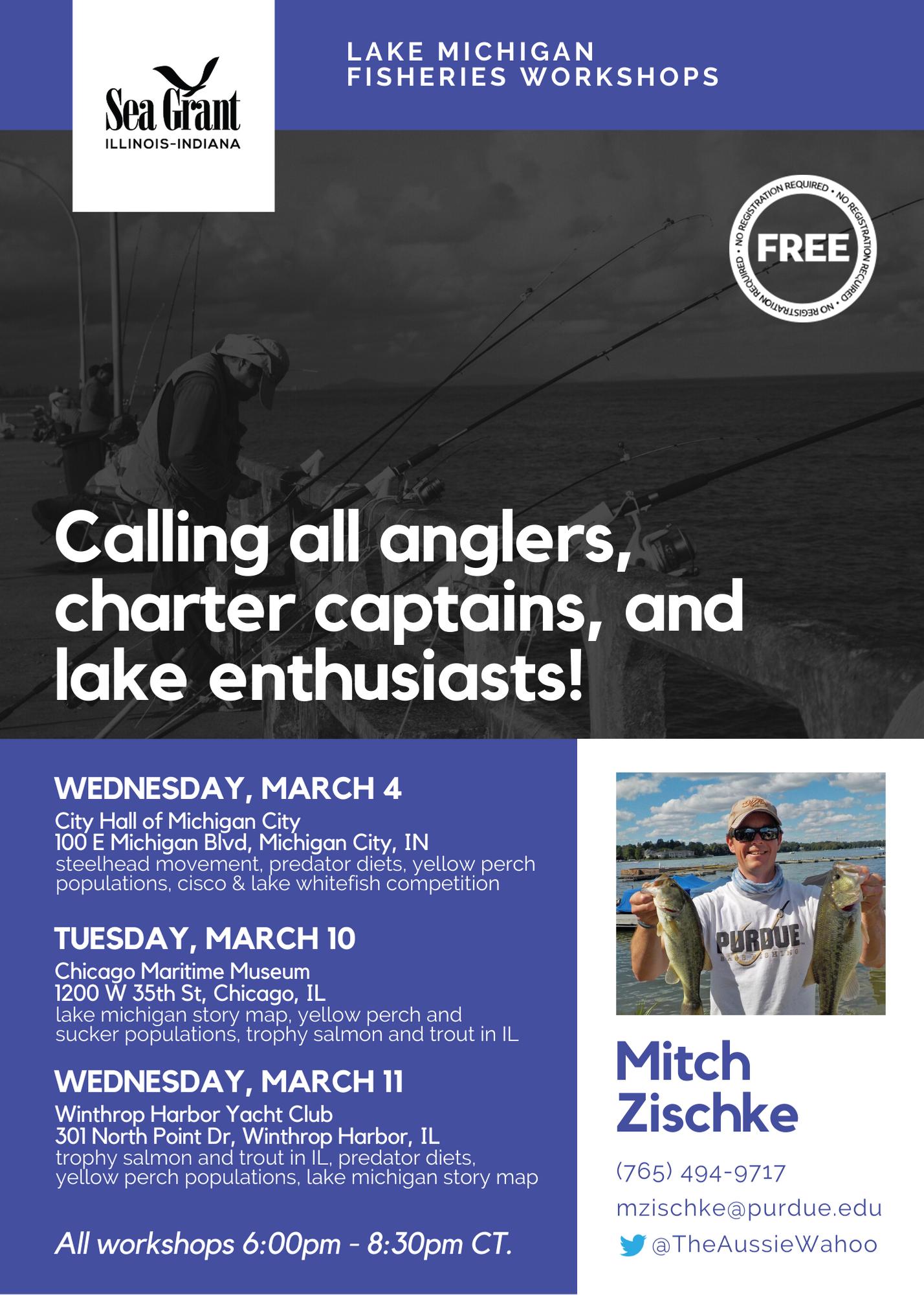 flyer for 2020 Lake Michigan fisheries workshops