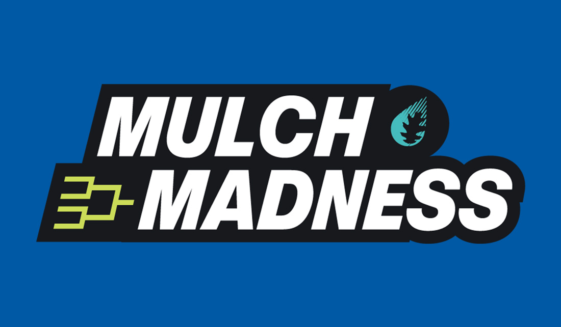 Mulch Madness logo with bracket and leaf graphic