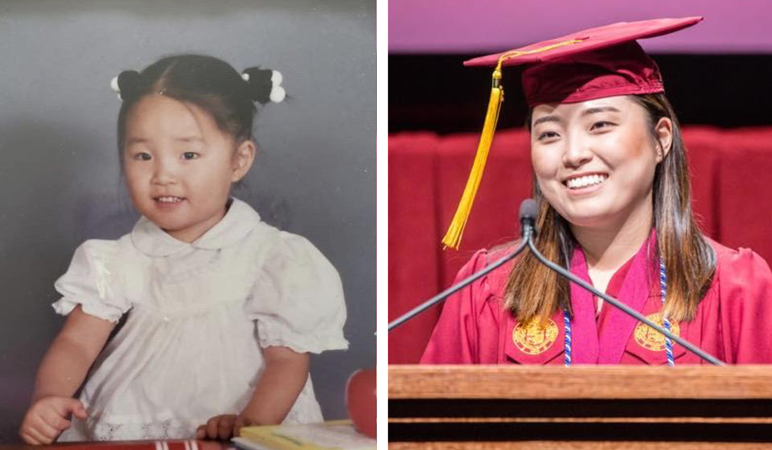 toddler girl on the left in pigtails and a white dress, college graduate on the right wearing a red graduation cap and gown and standing at a podium giving a speech