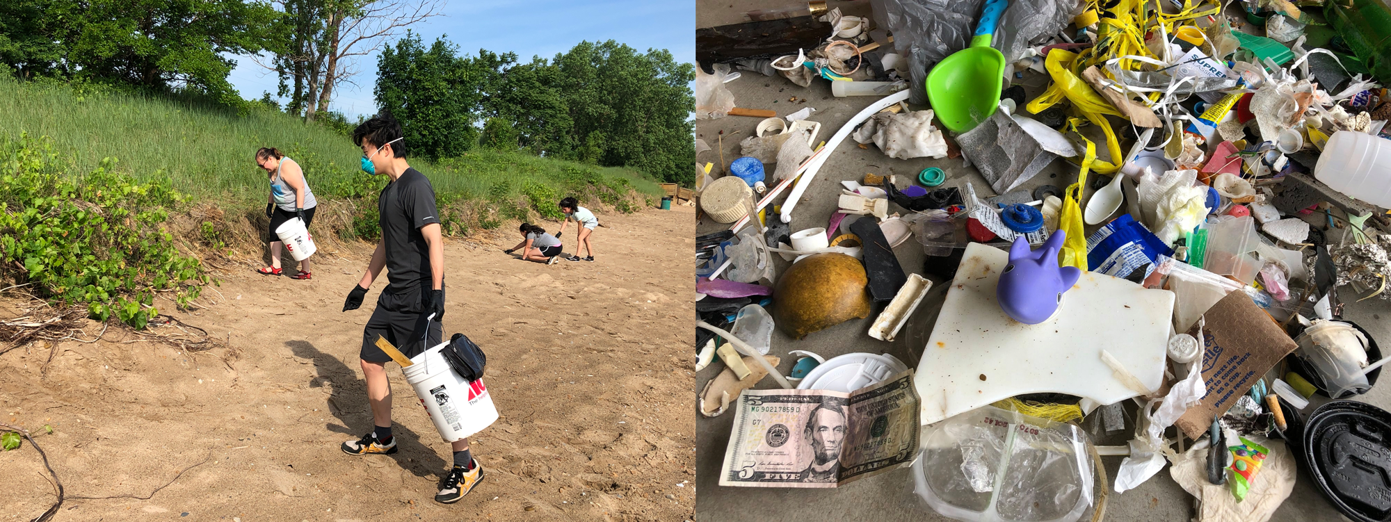 left: people walk along the beach with plastic buckets, cleaning up trash. right: pile of trash collected, including toys, cigarette butts, plastic wrappers, a 5-dollar bill, and more.