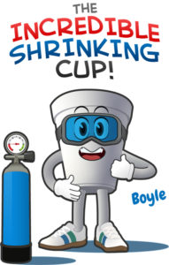 Boyle the Incredible Shrinking Cup mascot