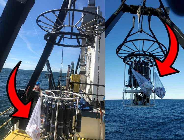 styrofoam cups in net bags are positioned onboard the R/V Lake Guardian, preparing to be deployed into the Great Lakes