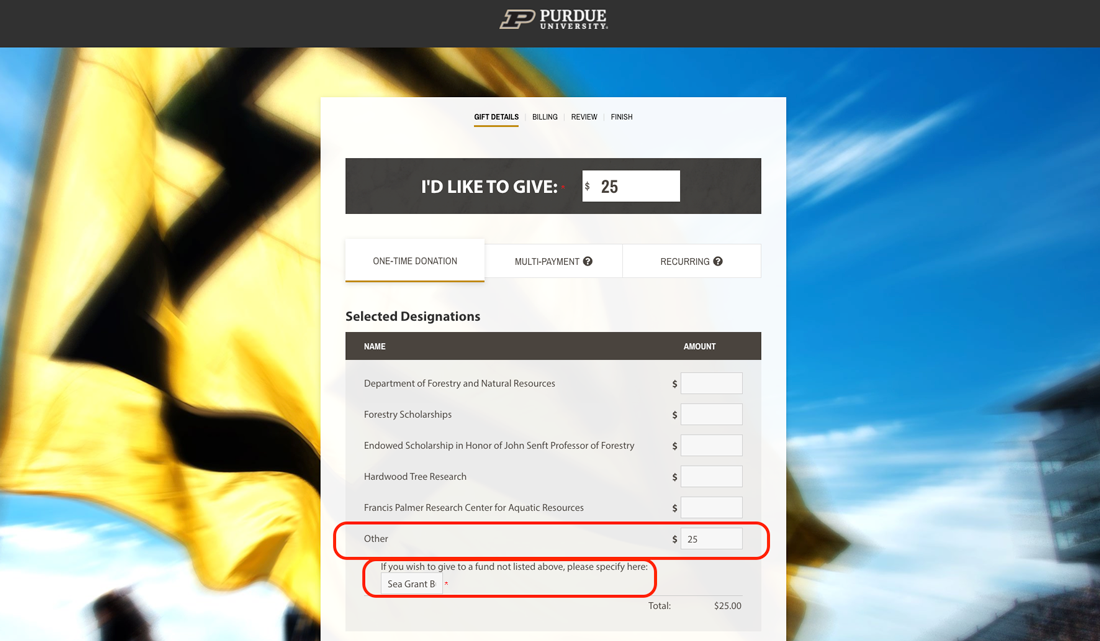 screenshot of Purdue donation page