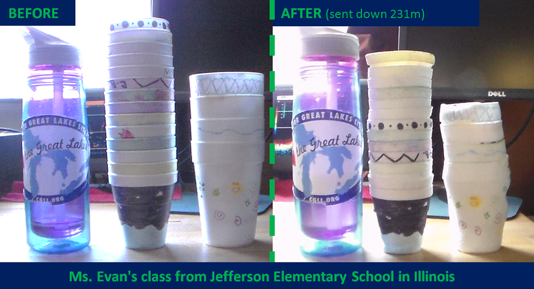 left side: BEFORE photos of styrofoam cups, full size. right side: AFTER photos of styrofoam cups, shrunken down after being sunk to the bottom of one of the Great Lakes.