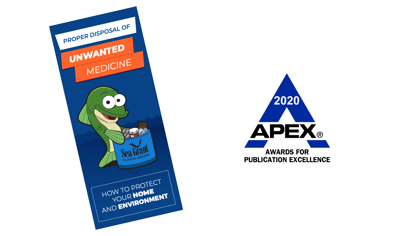 Unwanted Meds brochure front page and 2020 APEX Awards logo
