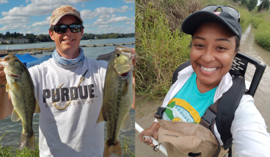 Mitch Zischke on left holding two fish, Meagn Gunn on right wearing electrofishing backpack