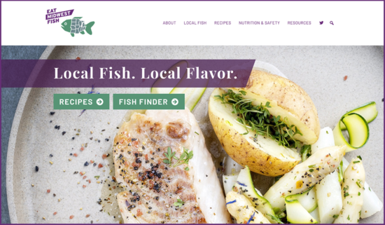 homepage screenshot of Eat Midwest Fish website