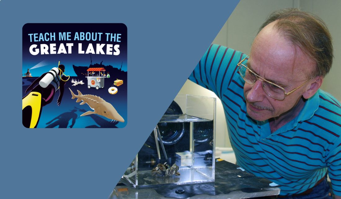 Teach Me About the Great Lakes podcast logo, and Hank Vanderploeg in a laboratory inspecting invasive mussels