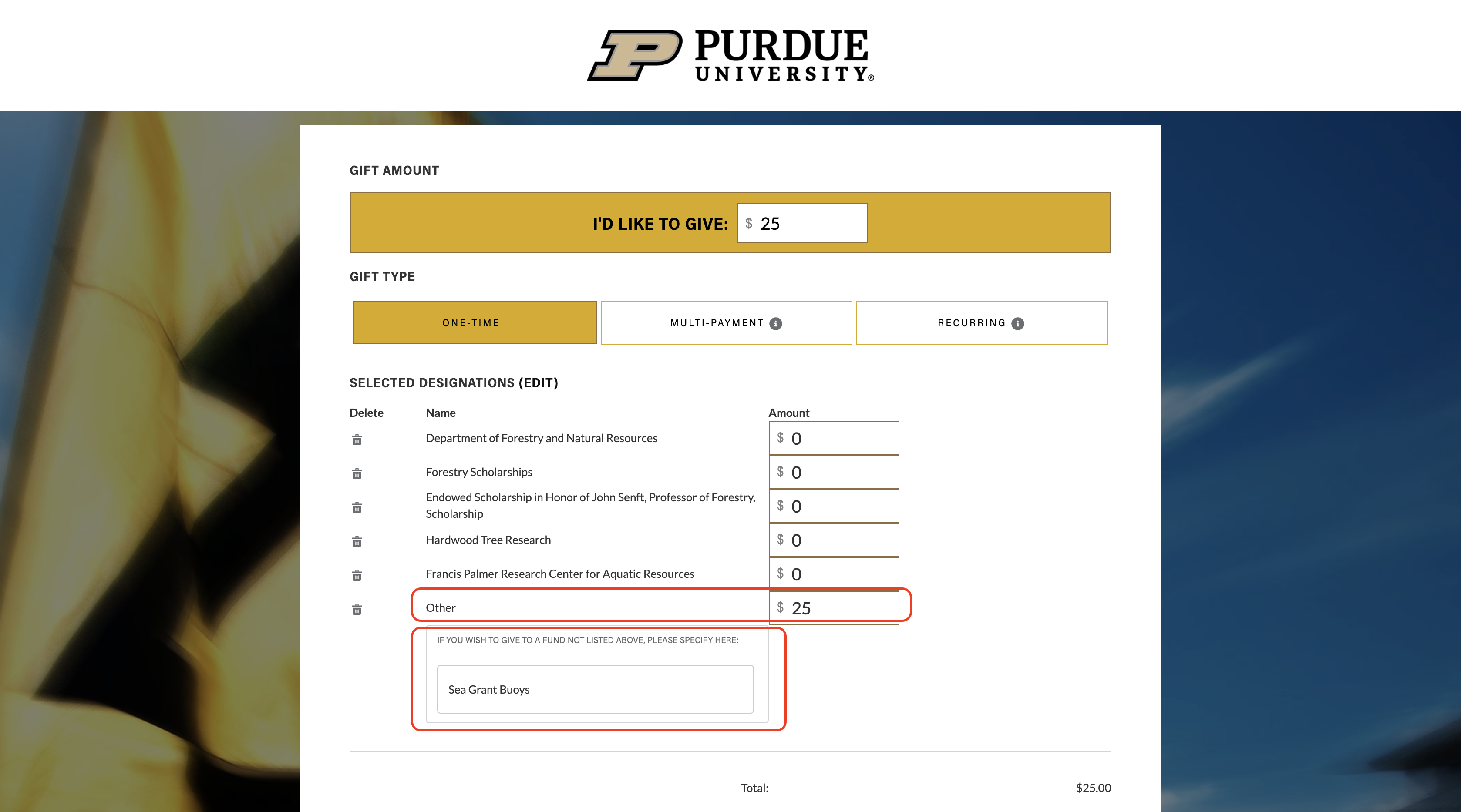 Image of Purdue Donate page