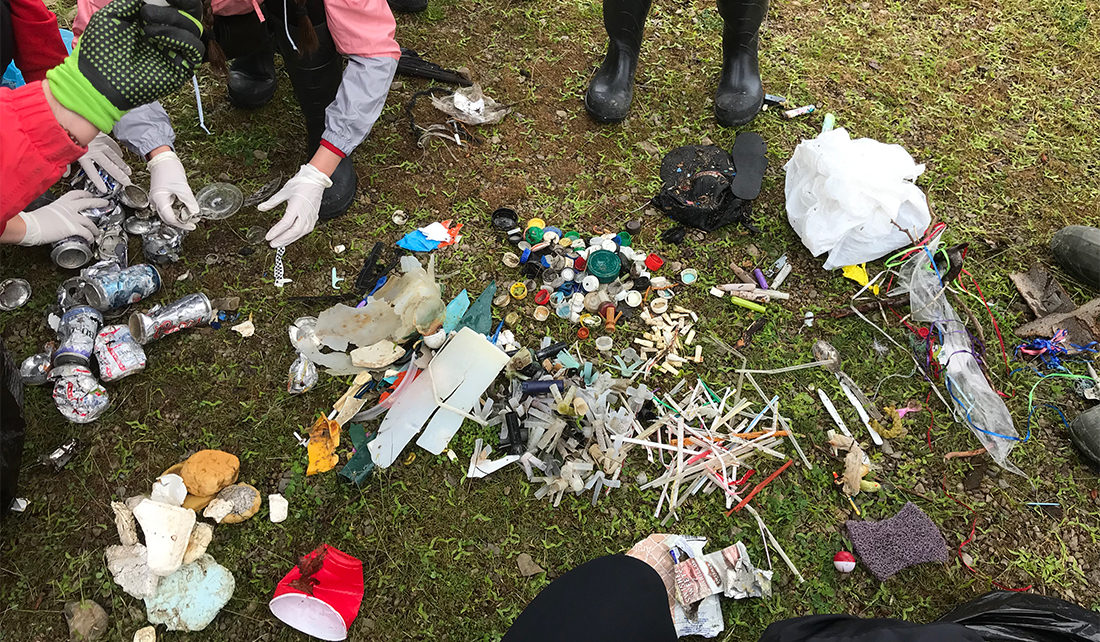 Assorted plastic debris collected in a cleanup around the Great Lakes